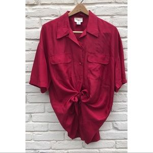 Silk oversized short sleeve blouse